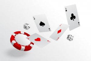 playing cards dice flying